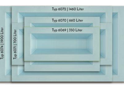 M+W-Gartenflair-Vergleich | GFK Teichbecken rechteckig 350 bis 2500 Liter | 520 mm tief | blau-granit