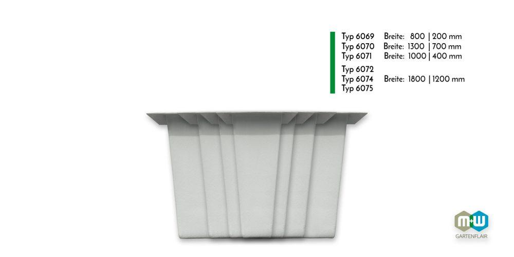 Vergleich | GFK Teichbecken rechteckig 350 bis 1500 Liter Frontansicht