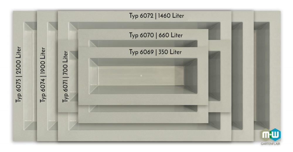 M+W-Gartenflair-Vergleich | GFK Teichbecken rechteckig 350 bis 2500 Liter | 520 mm tief | grau-granithbecken-rechteckig-quer-6069-6075-grau-granit