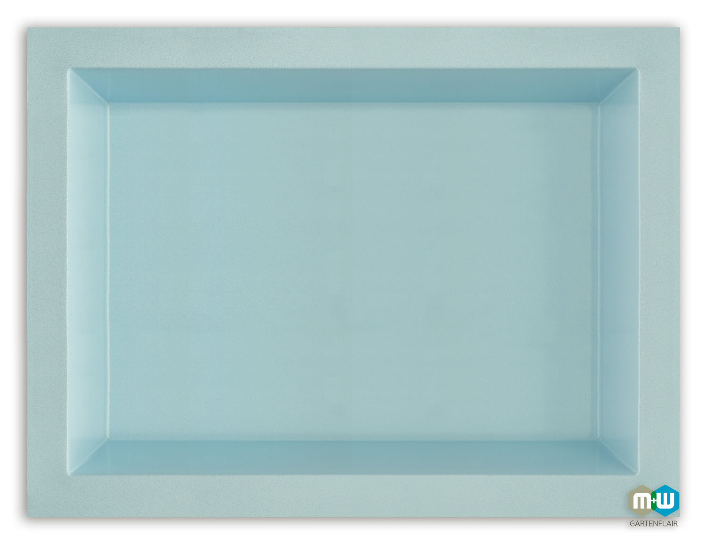 M+W Gartenflair GFK Teichbecken rechteckig 1460 Liter quer blau-granit