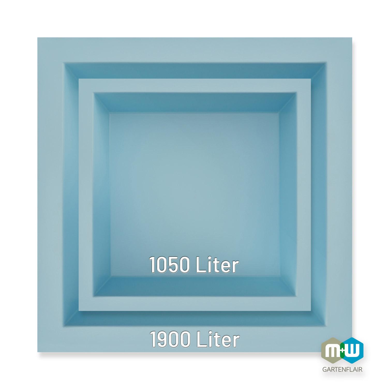 M+W-Gartenflair-GFK-Teichbecken-quadratisch-Größenvergleich-blau